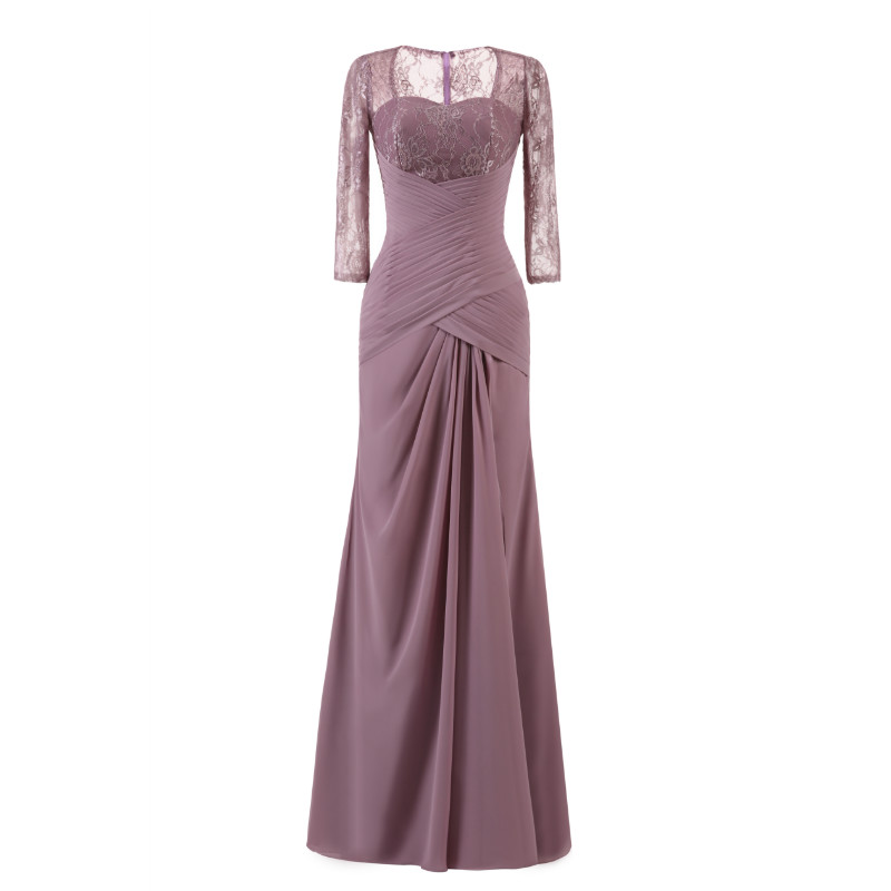 W.JOLI Long Evening Dress Elegant Lace Pleat Bride Banquet Floor-length Prom Gown lavender Purple Vintage Wedding Party Dress 2