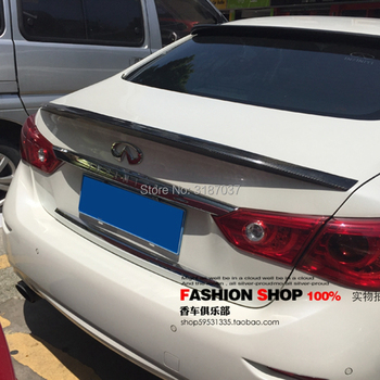 For INFINITI Q50 Q50S 2014-2017 Carbon Fiber Rear Roof Spoiler Wing Trunk Lip Boot Cover Car Styling