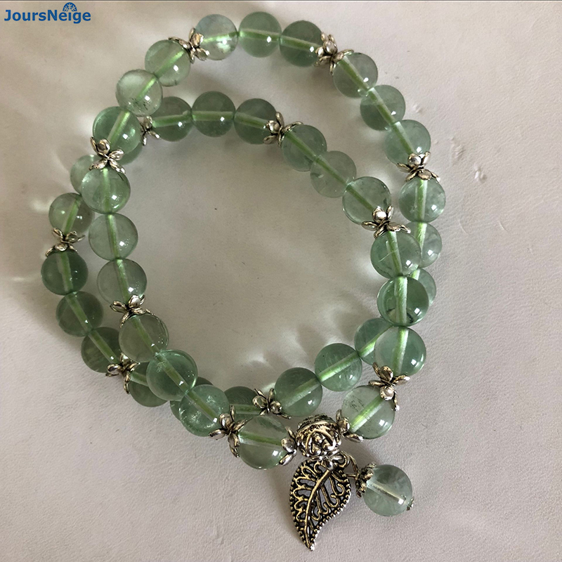 Dropshipping Fluorite Natural Stone Bracelets Round Beads With Tibetan Silver Leaf Korean Japanese style Bracelet Jewelry