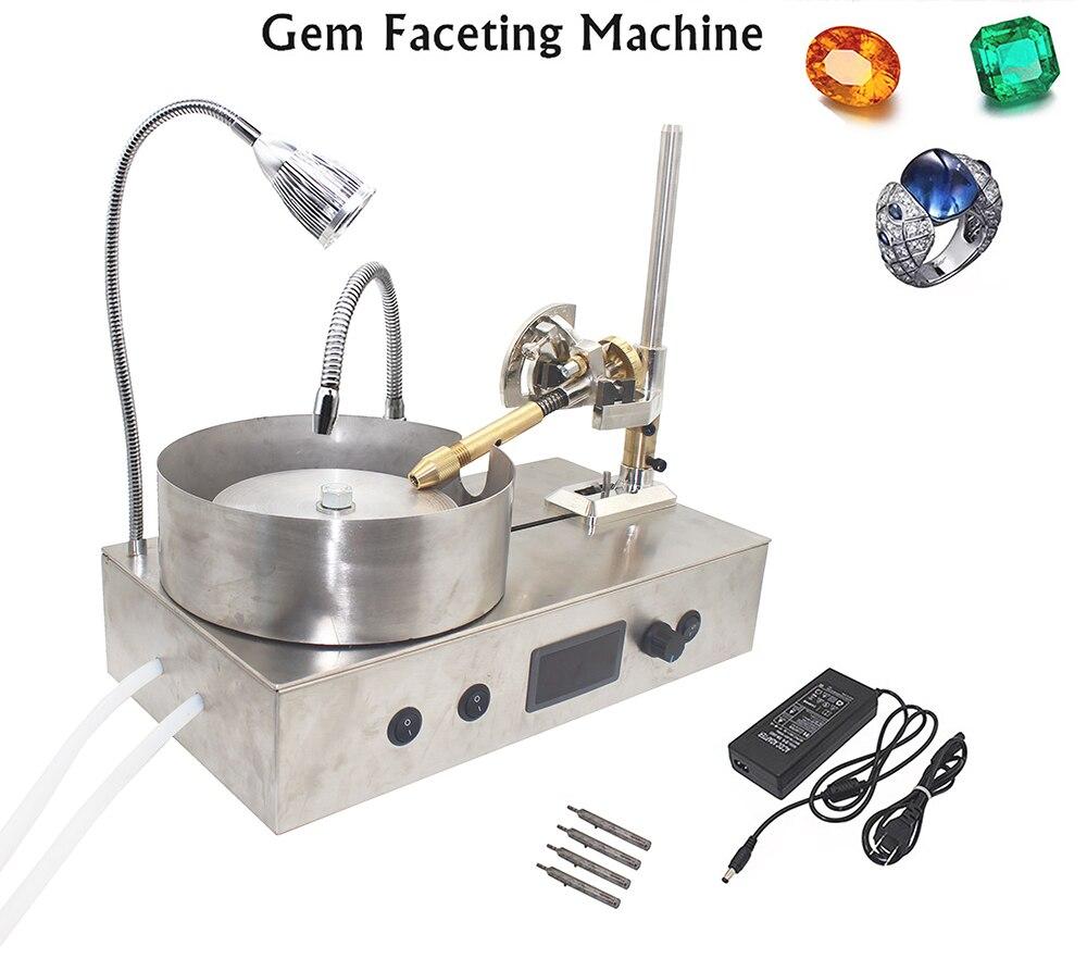 Atualizado máquina de Moagem de Pedra Preciosa Gema Facetamento Máquina Máquina Ângulo De Pedra Jade Jóias Polidor Moedor Plana + LED + bomba de Água