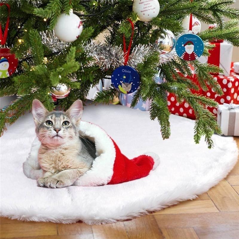 1 Pcs 90 Cm Wit Pluche Kerstboom Rok Bont Tapijt Kerst Home Decor Kerstboom Decoratie Gift Plaatsing