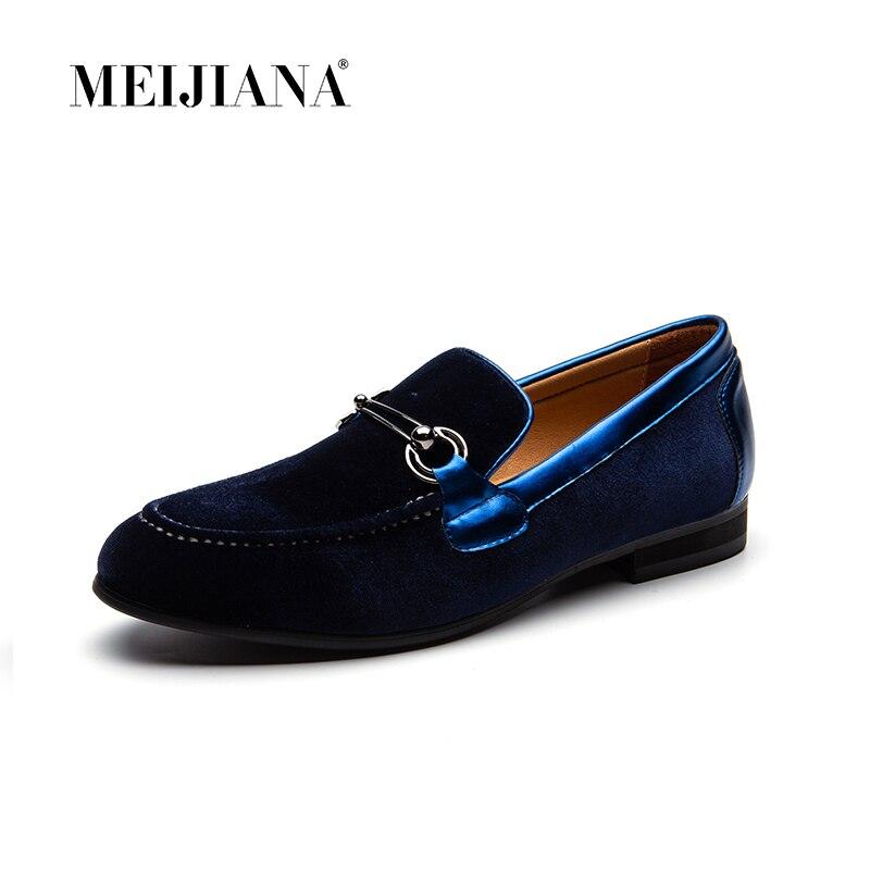 Veludo azul Preto Genuíno Deslizar vermelho Preto Casuais Homens Plana Couro Meijiana Mocassins Com Sobre Dos Trança Sapatos Vestido De pxT88qn6t