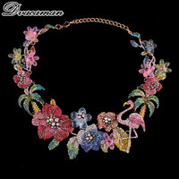 Dvacaman New Za Design Multicolor Crystal Beads Flower Necklace Vintage Maxi Rhinestone Bijoux Statement Choker Necklace