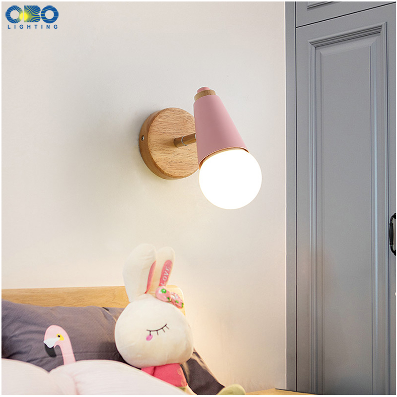 Modern Macaron Wall Lamp Iron Wood Mirror Light Bedside Bedroom Indoor Lighting E27 Light Bulb Retro  LED Wall Light Nordic 5