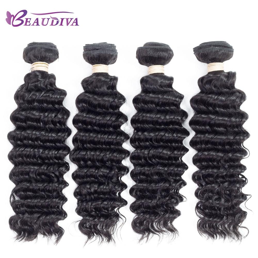 Beaudiva Peruvian Hair Deep Wave Bundles 4 Pieces Pre-Colored Wavy Human Hair Weave Bundles Natural Color Soft 8-26 Hair Weft
