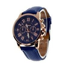 2016 Marca de Moda Reloj de Ginebra Mujeres Hombres Casual Números Romanos Cuero de Imitación de Cuarzo Relojes de Pulsera relogio Reloj relojes mujer