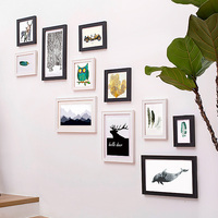 Creative Combination Classic Picture Frames Wall photo Frame Pendulum Hanging Wall Wood Picture Wall Black Picture Frame Box