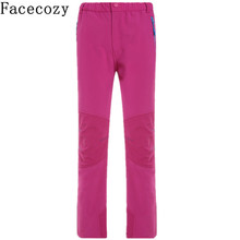 Facecozy Kids Winter Softshell Pants Fleeces Ski Pants Children Outdoor Hiking Camping Climbing Pants Windproof Trousers