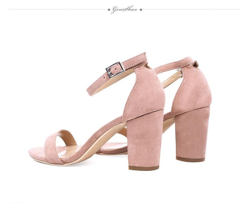 HTB127wUiYsrBKNjSZFpq6AXhFXaR GENSHUO 2019 Ankle Strap Heels Women Sandals Summer Shoes Women Open Toe Chunky High Heels Party Dress Sandals Big Size 42
