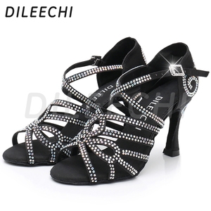Image 4 - DILEECHI Latin Dance รองเท้าคู่ Rhinestone Shining ผิวซาตินสีดำผู้หญิงบอลรูมเต้นรำรองเท้าคิวบา heel 9 ซม.ใหม่