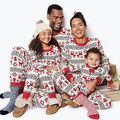 Nuevo otoño caliente otoño invierno xma nieve de santa ciervos Navidad De La Familia Mujeres Hombres Adultos ropa de Dormir Pijamas Set Trajes de Algodón