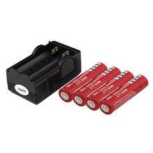 4 шт. аккумулятор 18650 фонарики 4000mAh 3,7 v перезаряжаемая батарея для фонарика+ двойное зарядное устройство для путешествий
