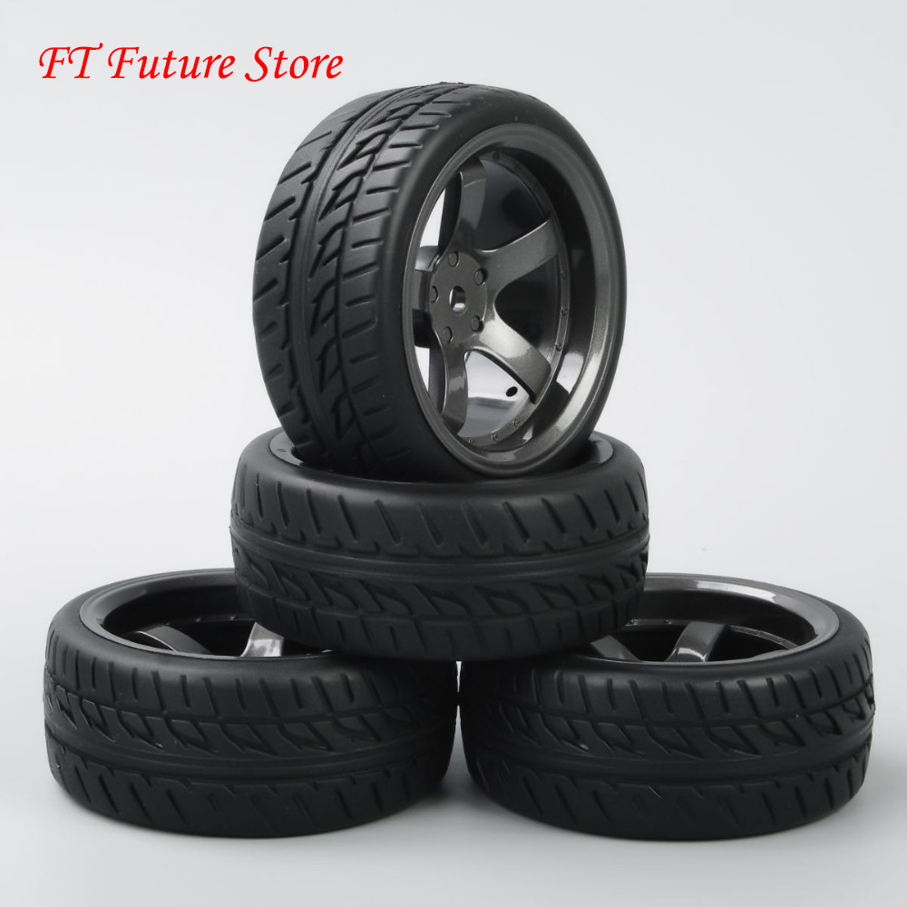 4 Pcs/Set 12mm Hex 1/10 RC Accessories And Parts On Road Racing Rubber Tyre Wheel Rim For HPI RC Model Car D5M & PP0150