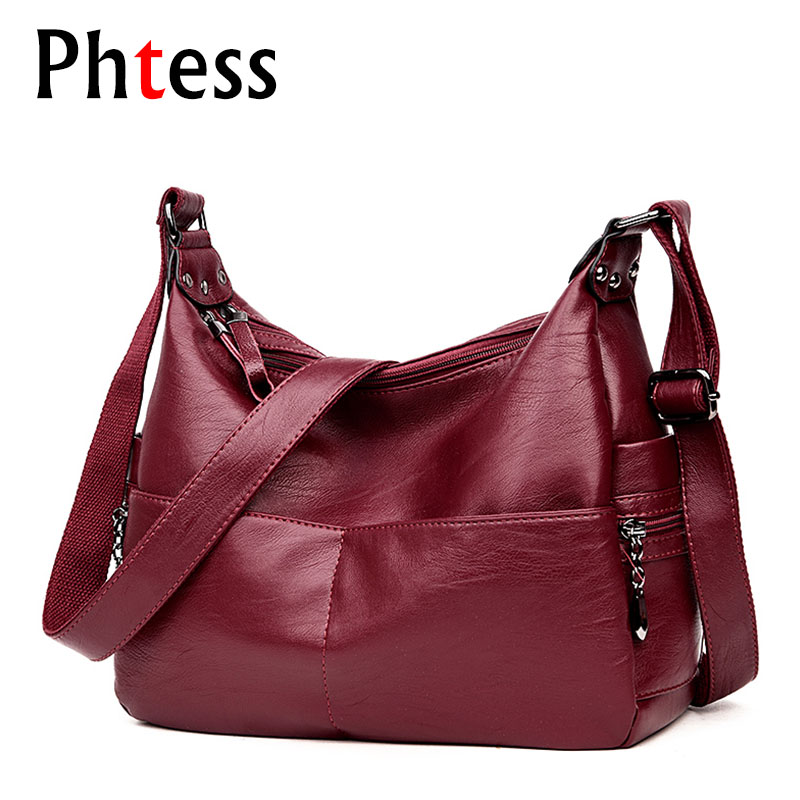 2019 Women Vintage Messenger Bags Female Leather Crossbody Shoulder Bags Sac A Main Ladies Luxury High Quality Bag Long Strap