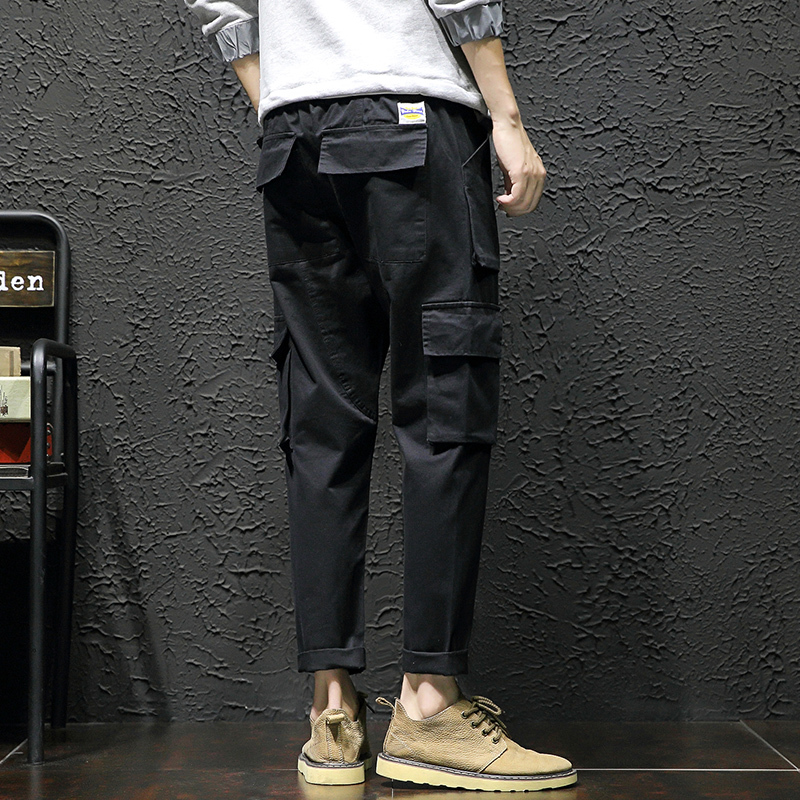 Casual Safari Style Cotton Elastic Waist Cargo Pants Men 2018 Summer Wash Pocket Three dimensional Bag Loose Overalls Homme 5XL in Cargo Pants from Men 39 s Clothing