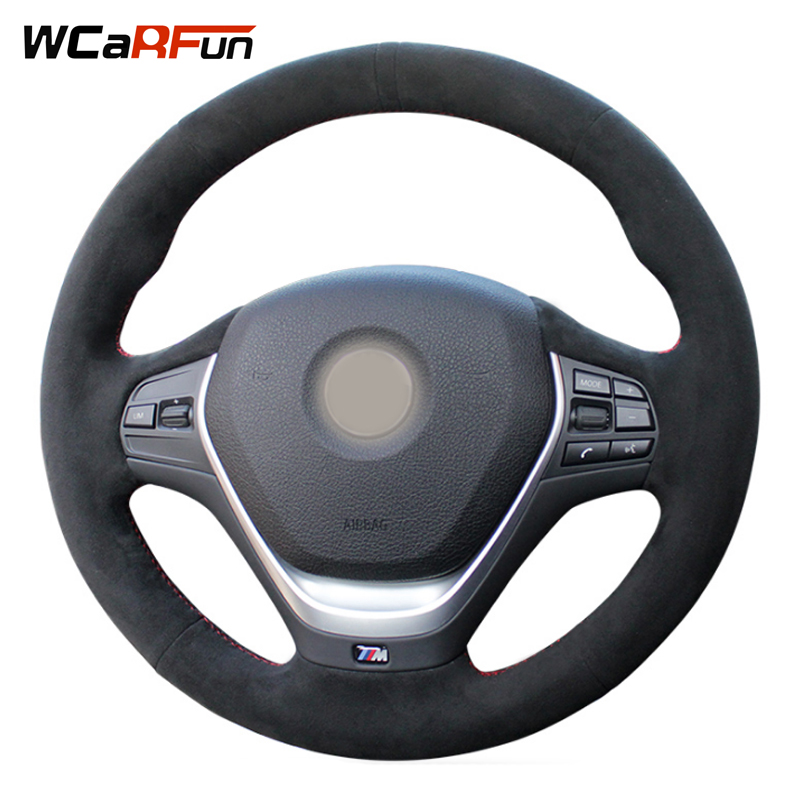 WCaRFun Hand-Stitched Steering Cover Black Suede Auto Car Steering Wheel Cover for BMW F30 320i 328i 320d F20