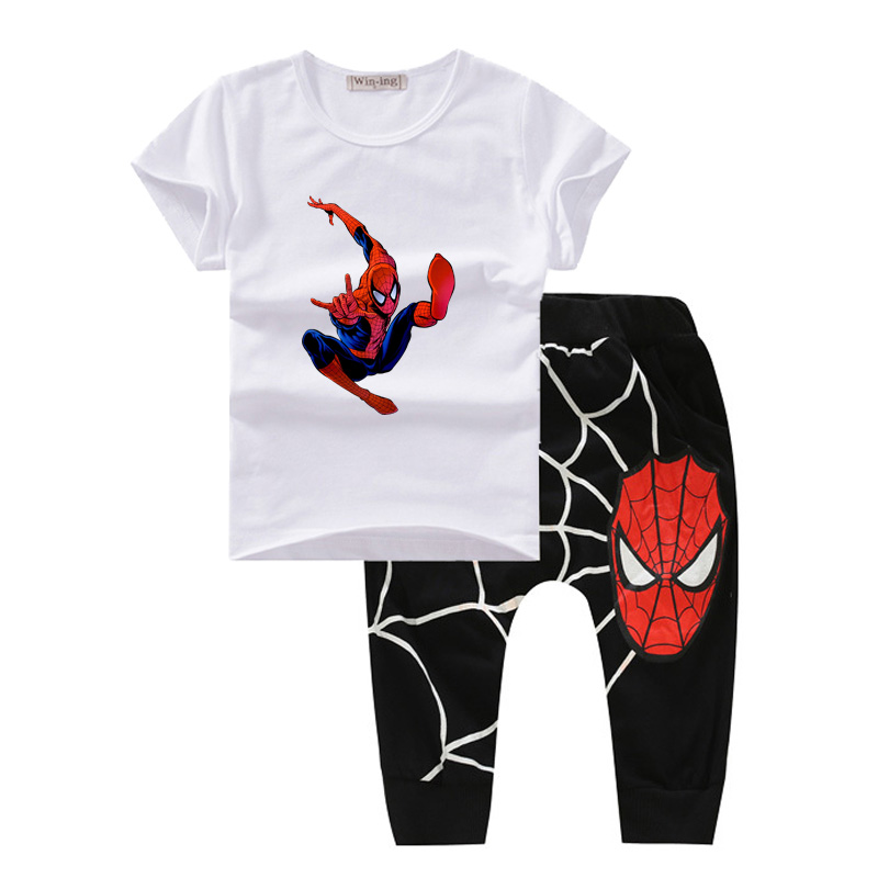 4 Colors New Spider-Man Kids boys clothing Summer 2016 Children boys clothes fashion toddler boys clothing set cotton T601