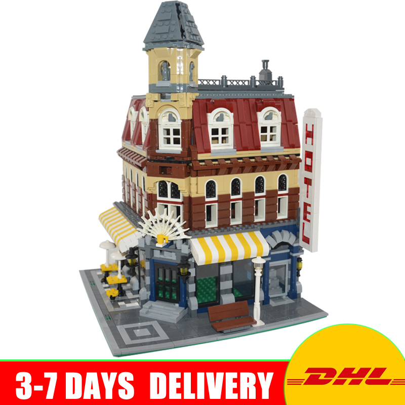 DHL Free Lepin 15002 Street Cafe Corner Model Building Kits Blocks Kid Toys Model Gifts Compatible 10182 In Stock dhl free shipping lepin 16002 pirate ship metal beard s sea cow model building kits blocks bricks toys compatible legoed 70810