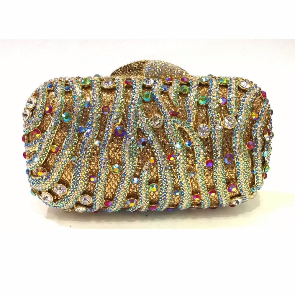 ФОТО 8149GAB multi-color Crystal Lady Fashion Wedding Bridal Party Night hollow Metal Evening purse clutch bag handbag case box