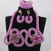 Dream of lavender Crystal Jewelry Sets Hot Nigerian African Wedding Bridal/Women Beads Necklace Jewelry Set Free Shipping ANJ212