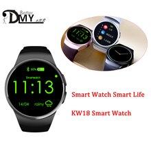 DMY Original KW18 Ronda Completa IPS de Ritmo Cardíaco Reloj Inteligente BT4.0 MTK2502 Smartwatch para ios y Android Samsung Reloj Inteligente