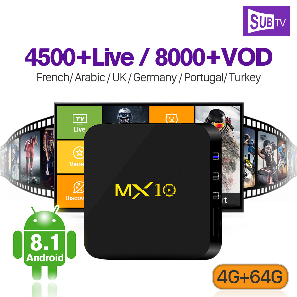 IPTV En Direct Full HD Arabe France IPTV Boîte 4 k Abonnement Italie MX10 Android 8.1 4g 64g RK3328 h.265 Décodeur Portugal Turc