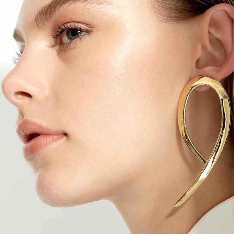 RscvonM New Chic Punk Gold Colour  Filled Polygon Drop Earrings For Women Hollow Geometry Big Earrings boucles d'oreilles bijoux