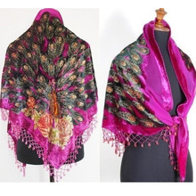 Free Shipping Hot Pink Triangle Ladies' Velvet Silk Beaded Embroidery Shawl Scarf Peafowl SW09-C