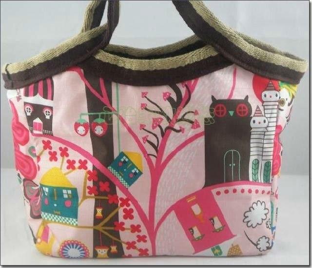 Envío gratis 30 unids/lote, arte del paño mini bolso de compras, patrón