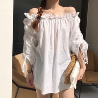 White Shirt Women 2017 Autumn Korean Style Ruffles Slash Collar Three Quarter Sleeve Off Shoulder Top