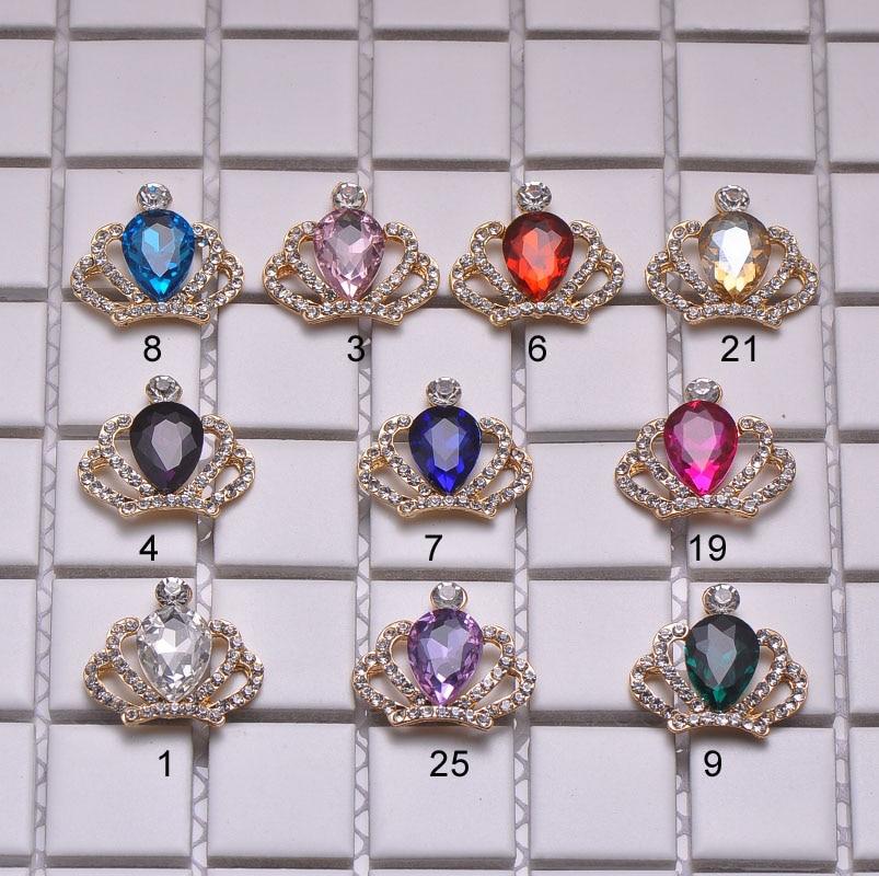 M1034 32mmx28mm rhinestone embellishment crown shape light gold plating flat back all crystals