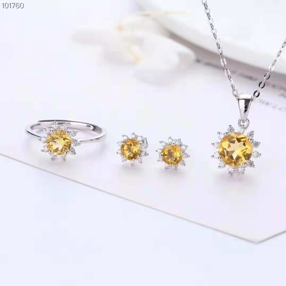 Crystal Pendants Ring Necklace Pendant Earrings Set Women Purple Yellow Circle Bridal Wedding 925 Sterling Silver Jewelry Sets ethiopian wedding jewelry sets blue rhinestone crystal for women 925 sterling silver earrings ring pendant bridal jewelry set