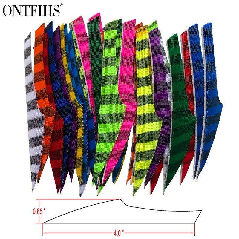 ontfihs rw 50 pcs 4 listrado um lado rei seta pena flexching para arco e flecha