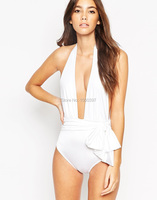 2016 Bandage Hollow Out One Pieces Swimwear Sexy Monokini Retro Swimsuit Deep V Style Swimsuits Black