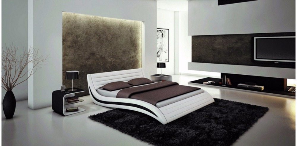 white contemporary modern leather soft bed King size bedroom furniture Made in China dark brown color real genuine leather bed soft bed double bed king size bedroom home furniture modern night stool