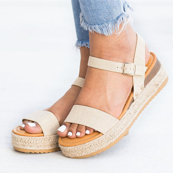 Summer Wedges Heel Sandals Fashion Open Toe Platform Women Sandals Shoes Plus Size Pumps 2019