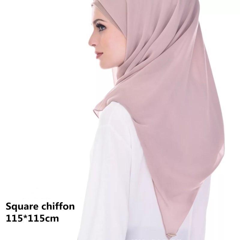 Fblus Clurs 2019 Solid Color Women Large Square   Scarves     Wraps   Chiffon   Scarf   Head   Scarf   Muslim Shawl 115*115CM