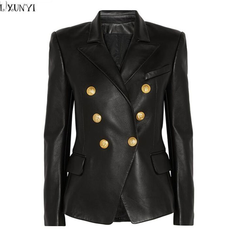 LXUNYI 2019 Autumn Winter New Double Breasted Black   Leather   Coat Women Casual Turn-down Collar Slim PU   Leather   jacket Female