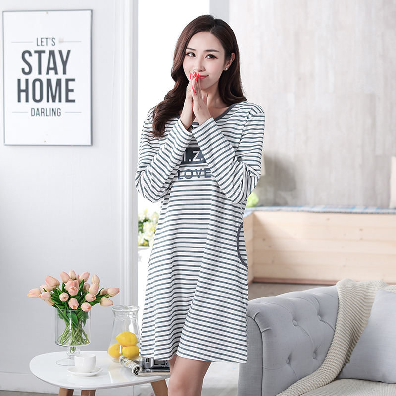 Autumn 100% Cotton Women's   Nightgown   Lounge Nightdress Femme Striped Sleepwear Casual Girl Nightwear Loose   Nightgowns     Sleepshirt