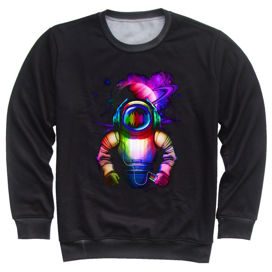 Joyonly Colorful Galaxy Paint Astronaut Printed Hoodies For Boys Girls 4-11 Years Old Children Black Sweatshirt Kids Cool Tops