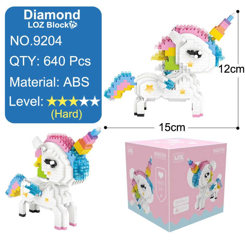 LOZ Blocos Brinquedo Flamingo Bonito Dos Desenhos Animados Do Unicórnio Do Arco DIY Animais Estatueta Presente de Aniversário Para As Mulheres Menina
