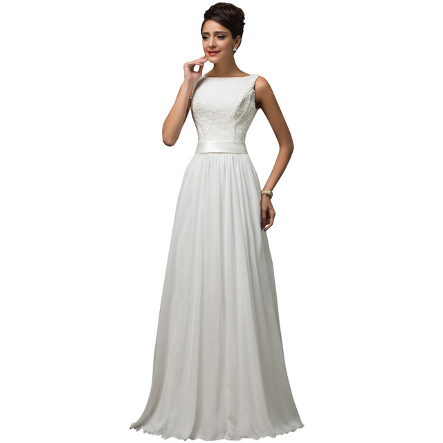eccd74333e9bf Grace Karin New Elegant Formal Long White Evening Dresses Lace Chffion  Sleeveless Floor Length Evening Gown Zipper Back CL007560