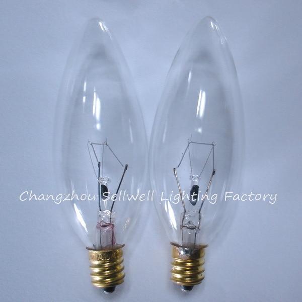 E12 Candle Lamp Small Bulb Base Incandescent Light 220v 40w Transpa A733 10pcs
