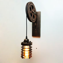 Loft industrail lifting pulley adjustable wall sconce vintage cafe corridor restaurant lamp bedroom aisle club bra light fixture(China)