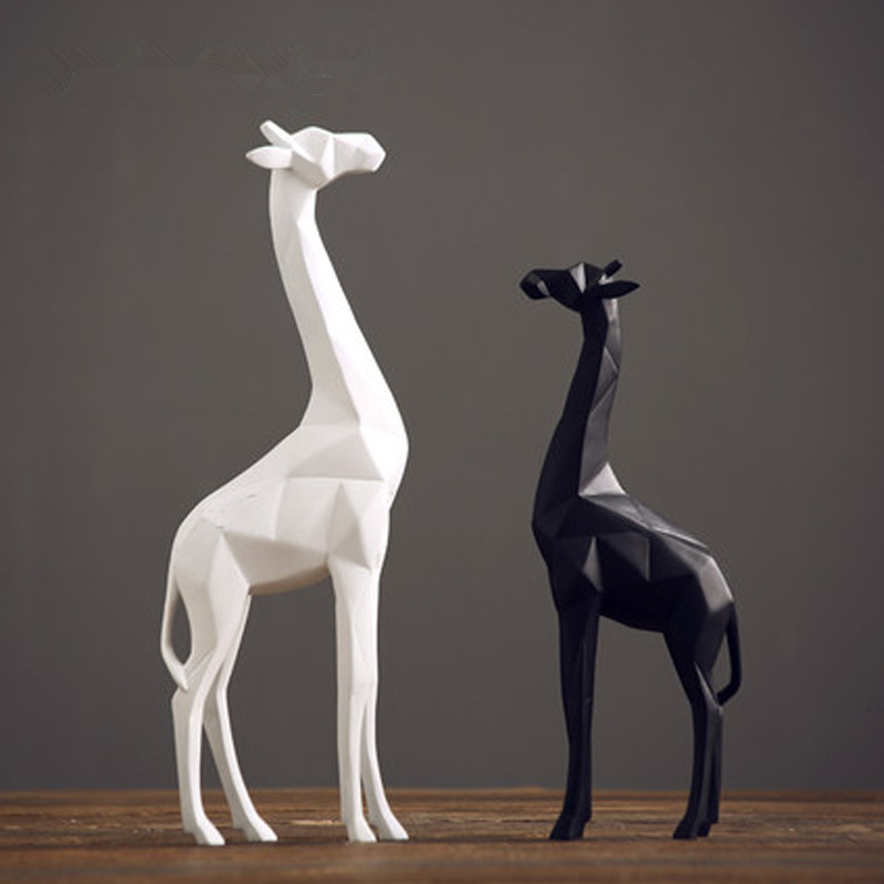 Soyut Geometrik kalem teşhir rafı Beyaz ve Siyah Zürafa Heykeli Masaüstü Reçine El Sanatları Heykel Ev Dekorasyon Hayvan Heykelcik 126|Heykelcikler ve Minyatürler|   -