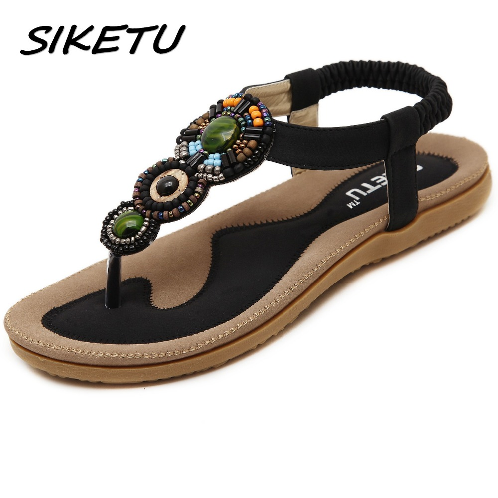цена на SIKETU Summer new women's flat sandals shoes woman Bohemia beach sandals ethnic retro student flip flop sandals size 35-42
