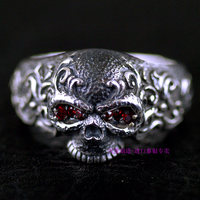 925 Sterling Silver rings with fine Tangcao pattern skull carved male and female Thai silver ring for couples