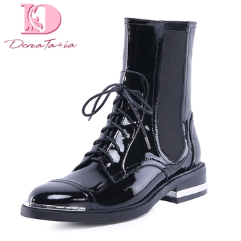 Doratasia new Genuine Leather plus Size 34-42 Cow Leather Shoes Women Boots leisure boots Ankle Boots Woman Shoes