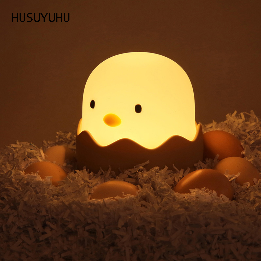 HUSUYUHU Creative Egg Shell Night Light Touch Switch Cartoon Tumbler USB Rechargeable Warm Yellow/ White Light Bedroom Gift