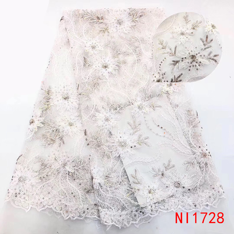 2019 High Quality African Sequence Lace Fabric Nigerian French Tulle Lace Fabric Embroidery With Sequins For Dresses KSNI1728